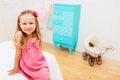 Little girl in her room portrait of adorable Stock Photos