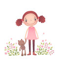 Little girl with her teddy bear Royalty Free Stock Photo