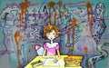 Little girl by her working table drawing sunshine horror surrounding watercolor Stock Photos
