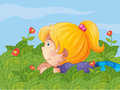 A little girl hiding in the garden illustration of Royalty Free Stock Images