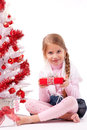 Little girl hold gift box Stock Images
