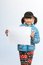 Little girl holding billboard Royalty Free Stock Photography