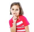 Little girl holding a brush for painting artist portrait of art Stock Photography