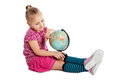 Little girl holding a globe. Royalty Free Stock Photos