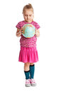 Little girl holding a globe. Royalty Free Stock Image
