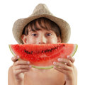 Little girl holding a piece of watermelon ripe Stock Photography