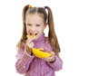 Little girl holding plate Royalty Free Stock Photo