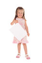 Little girl holding a sheet of paper Stock Photo