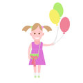 Little girl holds balloons illustration of a on a white background Stock Photos