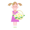 Little girl holds a basket of flowers illustration on white background Royalty Free Stock Photo