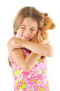 Little girl hugging bear toy Stock Photography