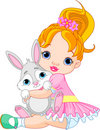 Little girl hugging toy bunny Royalty Free Stock Image