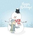 Little Girl Hugs Snowman. Chri...