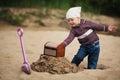 Little girl hunting for treasure