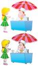 Little girl and ice cream vendor