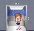 A little girl inside the elevator illustration of Royalty Free Stock Photography
