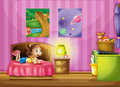 A little girl inside her colorful room illustration of Stock Photos