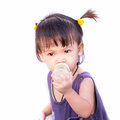 Little girl isolated asian on white background Stock Images