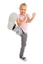 Little girl kick by foot. Royalty Free Stock Photos