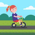 Little Girl Kid Riding Bicycle...
