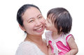 Little girl kissing her mom Royalty Free Stock Photo
