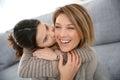 Little girl kissing her mother in cheek
