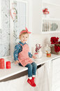 Little girl in the kitchen making cookies Royalty Free Stock Photo