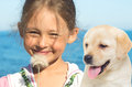 Little girl with  labrador Royalty Free Stock Photo