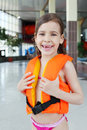 Little girl laughs after swimming Royalty Free Stock Images
