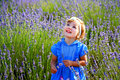 Little girl in a lavender field lovely Royalty Free Stock Photography