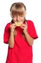 Little girl with lemon Stock Image