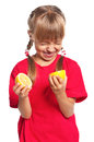 Little girl with lemon cute eating fresh isolated on white background Royalty Free Stock Image