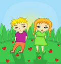 Little girl and little boy in love Royalty Free Stock Photo