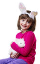Little girl little white rabbit easter Royalty Free Stock Photography