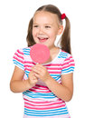 Little girl with lollipop happy big isolated over white Royalty Free Stock Photo