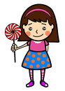 Little girl with lollipop illustration of cartoon style isolated on white background Royalty Free Stock Photography