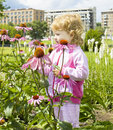 Little girl looking at flowers Stock Image
