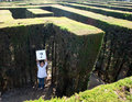 Little girl lost on a maze Royalty Free Stock Photo