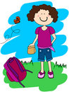 Little girl with lunch and back pack Royalty Free Stock Images