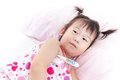 Little girl lying on sickbed with digital thermometer in her arm Royalty Free Stock Photo