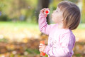 Little girl making  bubble blower on the autumn forest Royalty Free Stock Image