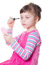 Little girl with mascara Royalty Free Stock Images