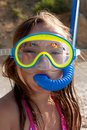 Little girl with mask and  snorkel for diving Royalty Free Stock Photo