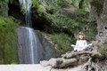 Little girl meditate Royalty Free Stock Photography