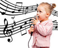 Little girl with microphone Royalty Free Stock Photo