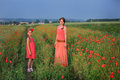 Little girl with mother walking on the poppy field