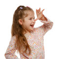 Little girl on the move cheerful positive naughty child Stock Photography
