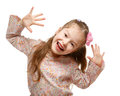 Little girl on the move cheerful positive naughty child Stock Photo
