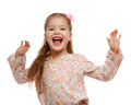 Little girl on the move cheerful positive naughty child jumping Royalty Free Stock Photography