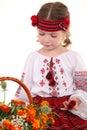 Little girl in the national Ukrainian costume Stock Images